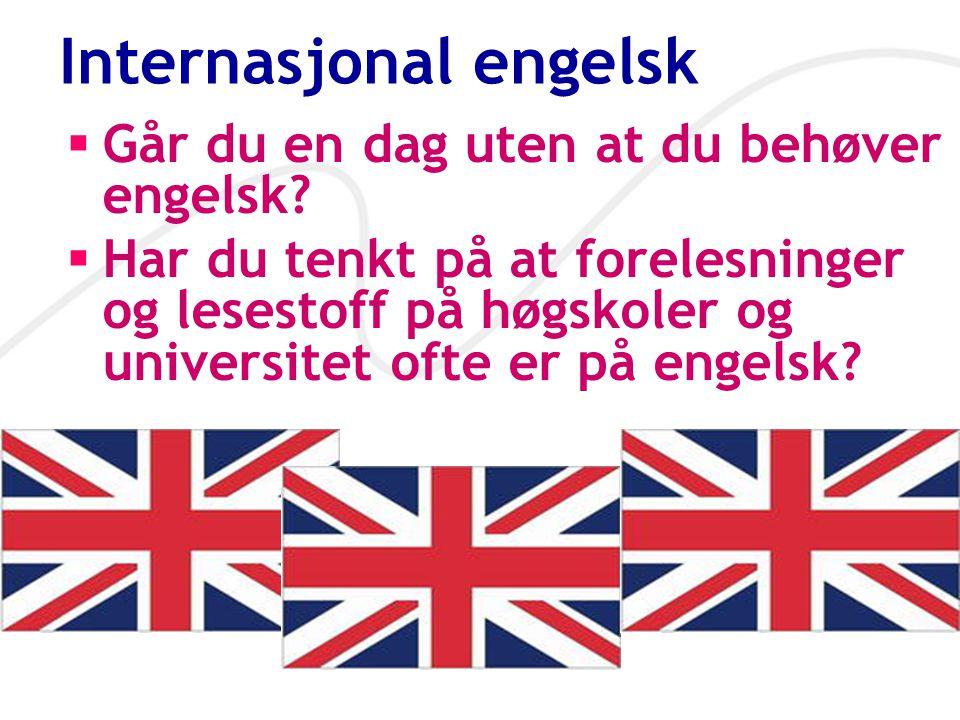 Internasjonal engelsk  Går du en dag uten at du behøver engelsk?  Har du tenkt på at forelesninger og lesestoff på høgskoler og universitet ofte er