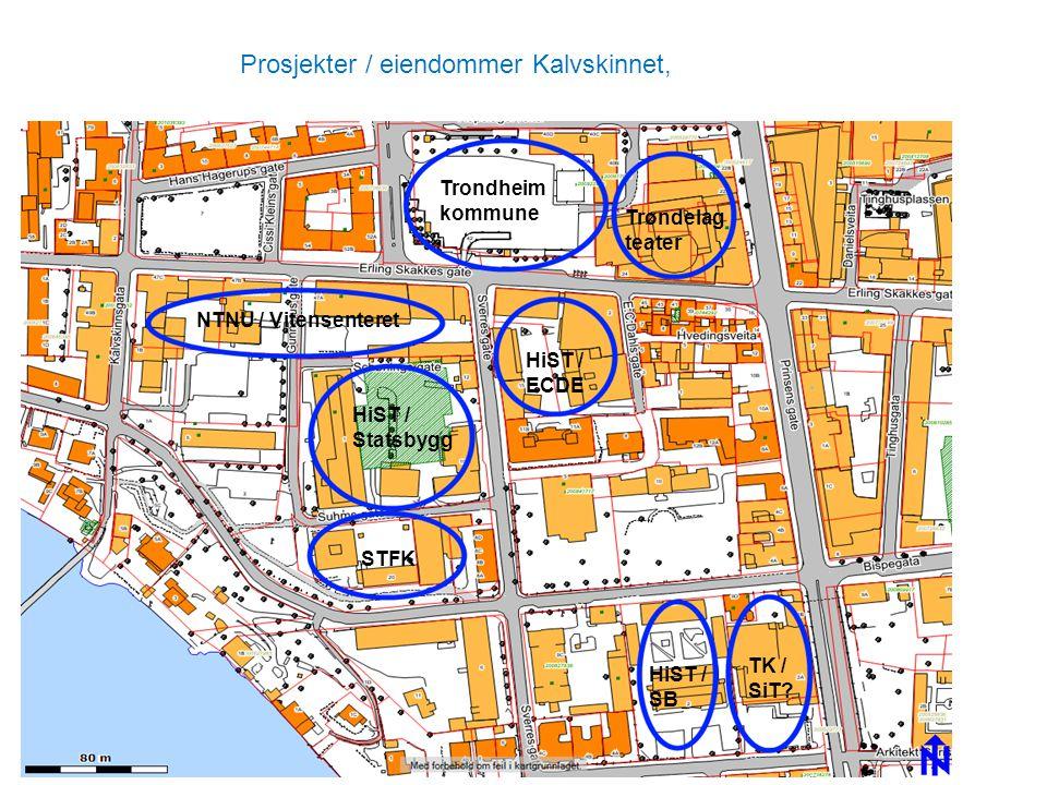 Prosjekter / eiendommer Kalvskinnet, STFK HiST / Statsbygg HiST / ECDE NTNU / Vitensenteret Trondheim kommune Trøndelag teater TK / SiT? HiST / SB