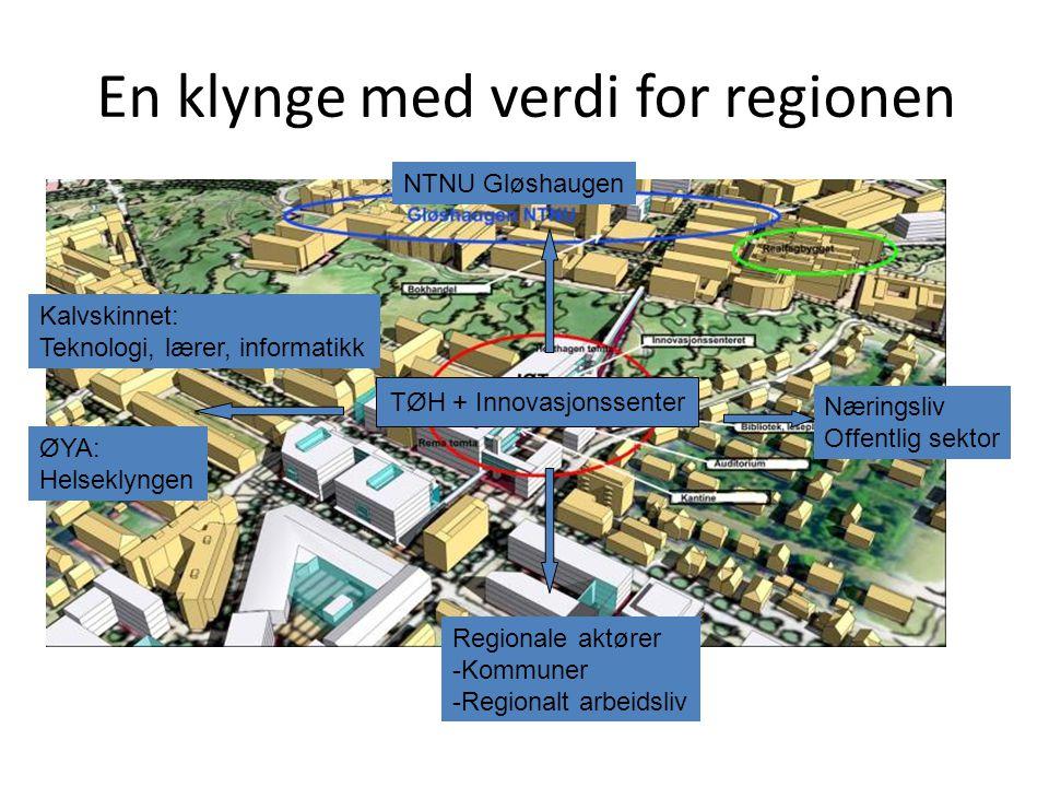En klynge med verdi for regionen TØH + Innovasjonssenter ØYA: Helseklyngen NTNU Gløshaugen Kalvskinnet: Teknologi, lærer, informatikk Næringsliv Offen