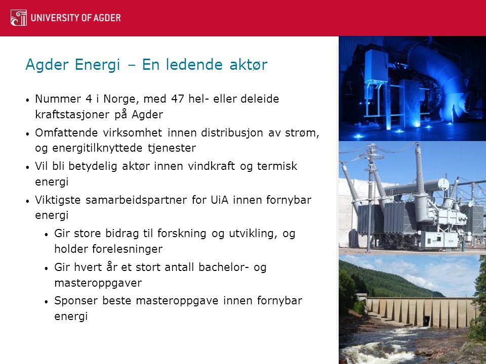 Agder Energi – En ledende aktør • Nummer 4 i Norge, med 47 hel- eller deleide kraftstasjoner på Agder • Omfattende virksomhet innen distribusjon av strøm, og energitilknyttede tjenester • Vil bli betydelig aktør innen vindkraft og termisk energi • Viktigste samarbeidspartner for UiA innen fornybar energi • Gir store bidrag til forskning og utvikling, og holder forelesninger • Gir hvert år et stort antall bachelor- og masteroppgaver • Sponser beste masteroppgave innen fornybar energi 14