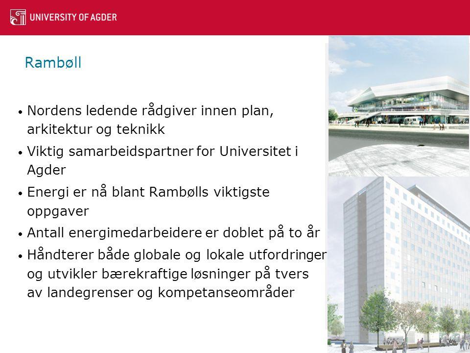 Rambøll • Nordens ledende rådgiver innen plan, arkitektur og teknikk • Viktig samarbeidspartner for Universitet i Agder • Energi er nå blant Rambølls viktigste oppgaver • Antall energimedarbeidere er doblet på to år • Håndterer både globale og lokale utfordringer og utvikler bærekraftige løsninger på tvers av landegrenser og kompetanseområder 16