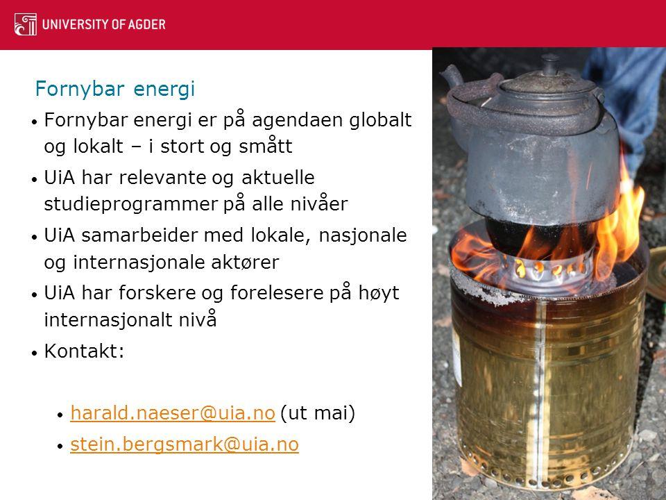 Fornybar energi • Fornybar energi er på agendaen globalt og lokalt – i stort og smått • UiA har relevante og aktuelle studieprogrammer på alle nivåer • UiA samarbeider med lokale, nasjonale og internasjonale aktører • UiA har forskere og forelesere på høyt internasjonalt nivå • Kontakt: • harald.naeser@uia.no (ut mai) harald.naeser@uia.no • stein.bergsmark@uia.no stein.bergsmark@uia.no 17