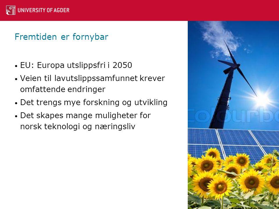 Fremtiden er fornybar • EU: Europa utslippsfri i 2050 • Veien til lavutslippssamfunnet krever omfattende endringer • Det trengs mye forskning og utvikling • Det skapes mange muligheter for norsk teknologi og næringsliv 2