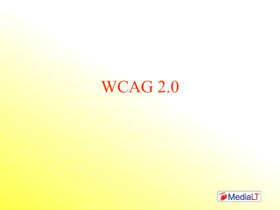 WCAG historikk •West County Assembly of God, 1969 •Web Content Accessibility Guidelines (WCAG 1.0), 1999 •Web Content Accessibility Guidelines (WCAG 2.0), 2008