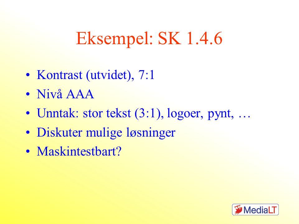 Eksempel: SK 1.4.6 •Kontrast (utvidet), 7:1 •Nivå AAA •Unntak: stor tekst (3:1), logoer, pynt, … •Diskuter mulige løsninger •Maskintestbart