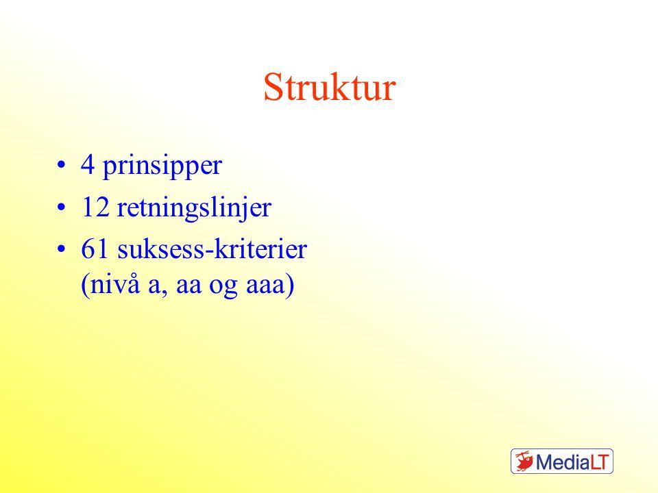 Struktur •4 prinsipper •12 retningslinjer •61 suksess-kriterier (nivå a, aa og aaa)