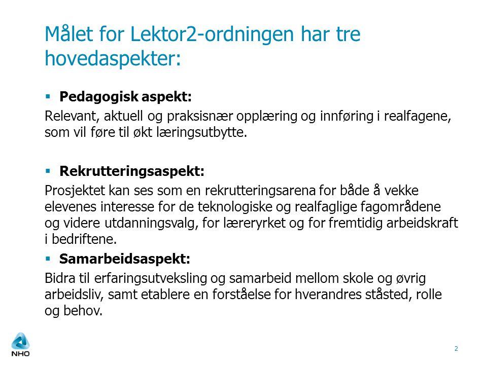 Fag Lektor2-ordningen omfatter realfagene på ungdomstrinn og videregående skole.