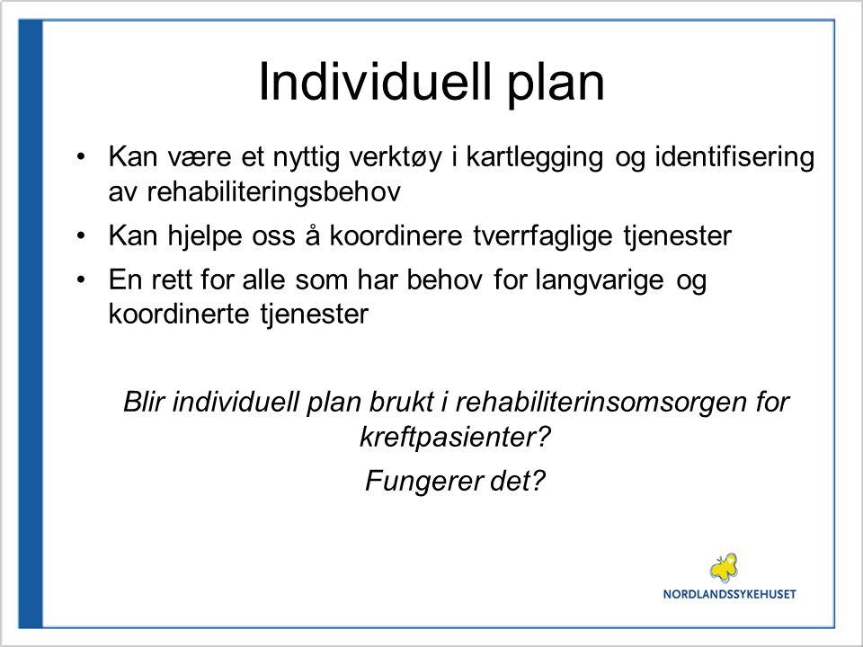 Individuell plan •Kan være et nyttig verktøy i kartlegging og identifisering av rehabiliteringsbehov •Kan hjelpe oss å koordinere tverrfaglige tjenest