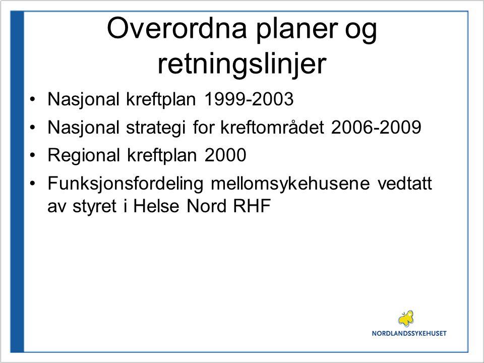 Overordna planer og retningslinjer •Nasjonal kreftplan 1999-2003 •Nasjonal strategi for kreftområdet 2006-2009 •Regional kreftplan 2000 •Funksjonsford
