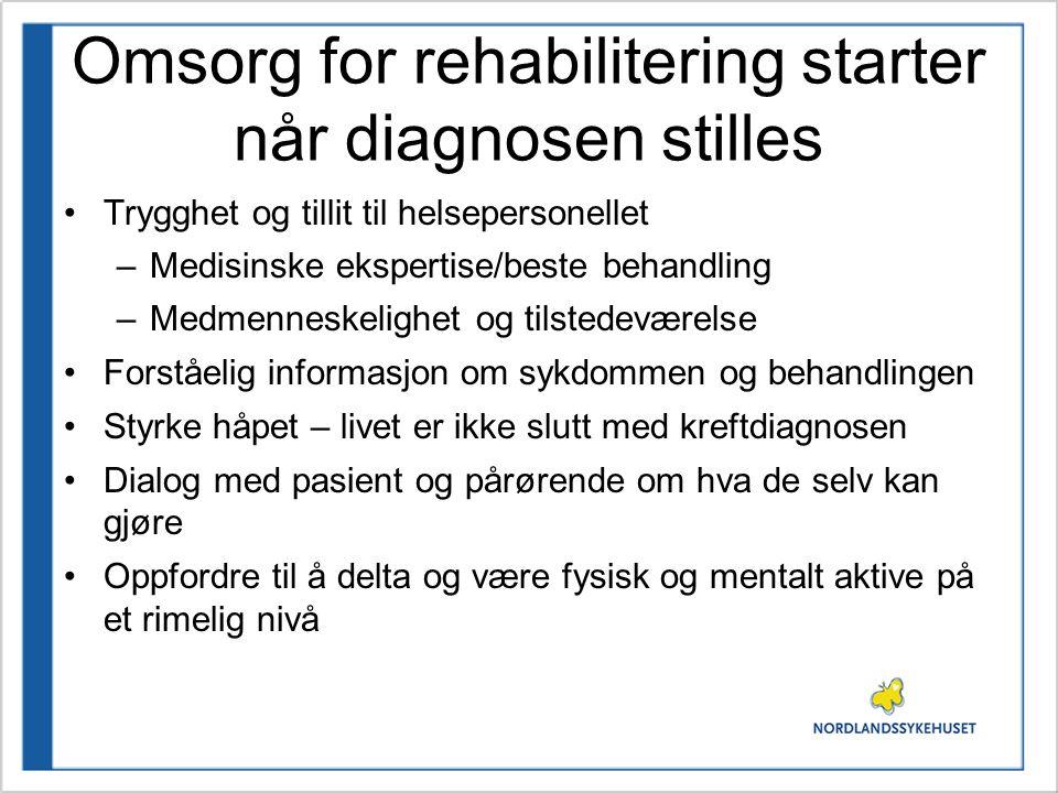 Omsorg for rehabilitering starter når diagnosen stilles •Trygghet og tillit til helsepersonellet –Medisinske ekspertise/beste behandling –Medmenneskel