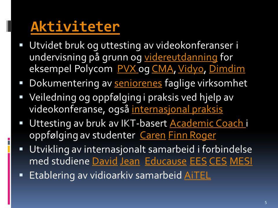 Aktiviteter  Utvidet bruk og uttesting av videokonferanser i undervisning på grunn og videreutdanning for eksempel Polycom PVX og CMA, Vidyo, Dimdimv