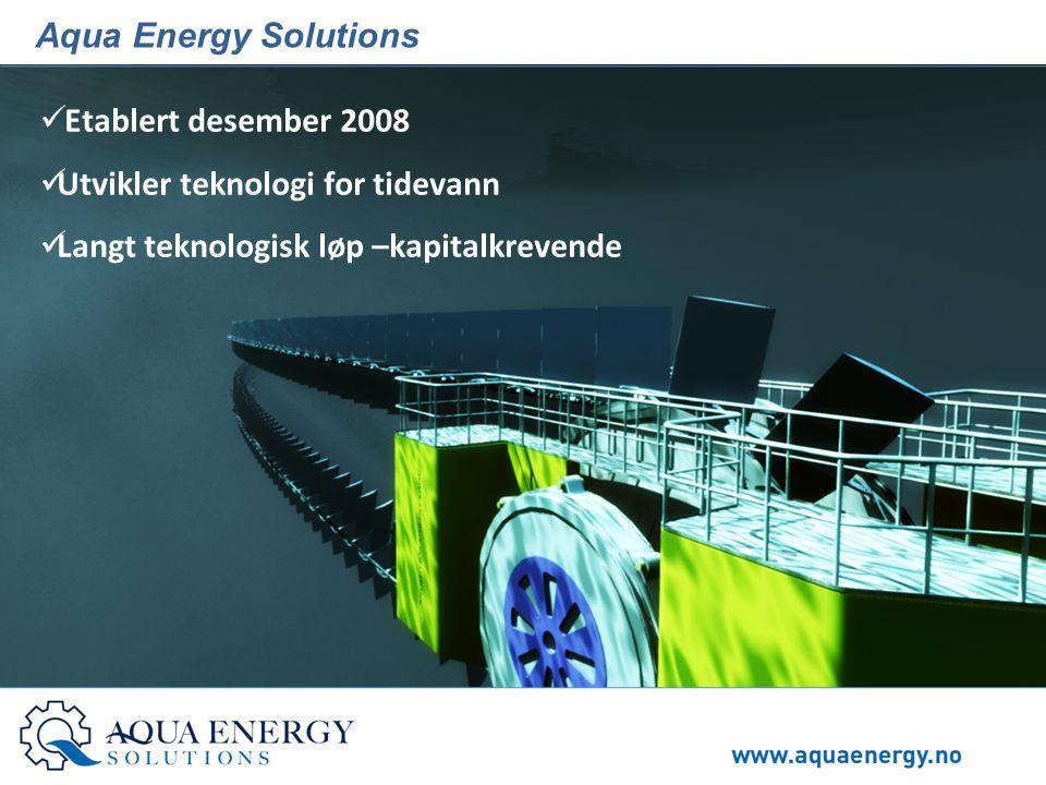 Aqua Energy Solutions  Etablert desember 2008  Utvikler teknologi for tidevann  Langt teknologisk løp –kapitalkrevende