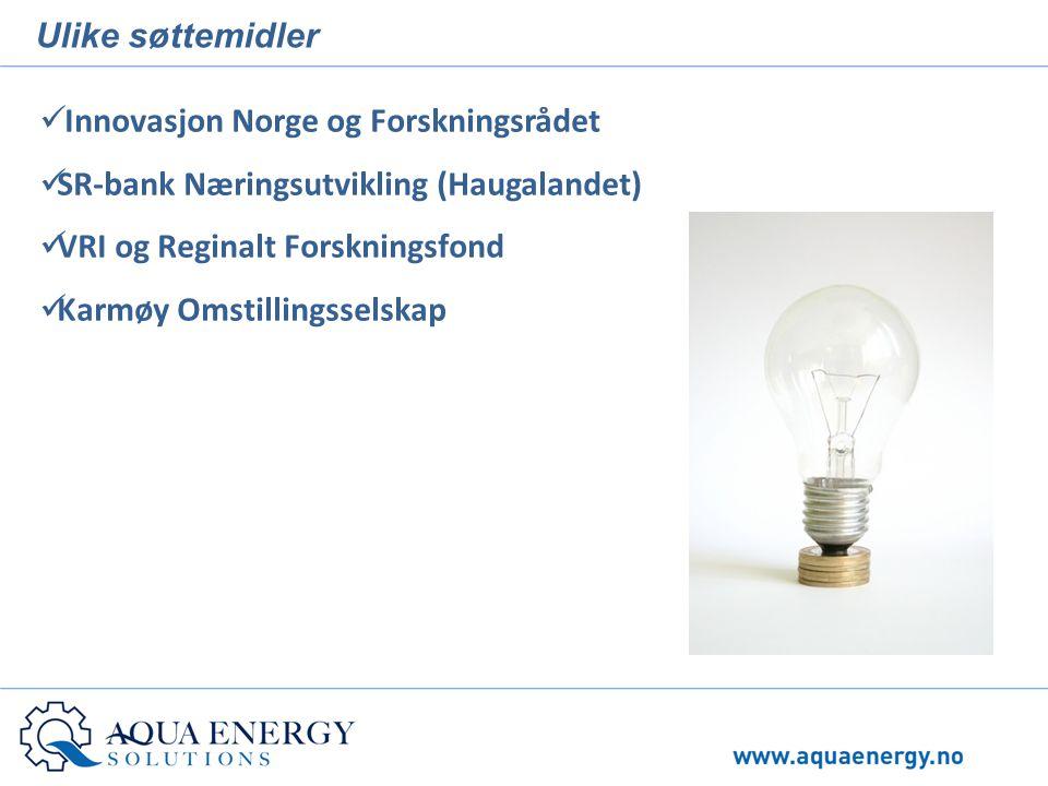 Ulike søttemidler  Innovasjon Norge og Forskningsrådet  SR-bank Næringsutvikling (Haugalandet)  VRI og Reginalt Forskningsfond  Karmøy Omstillings