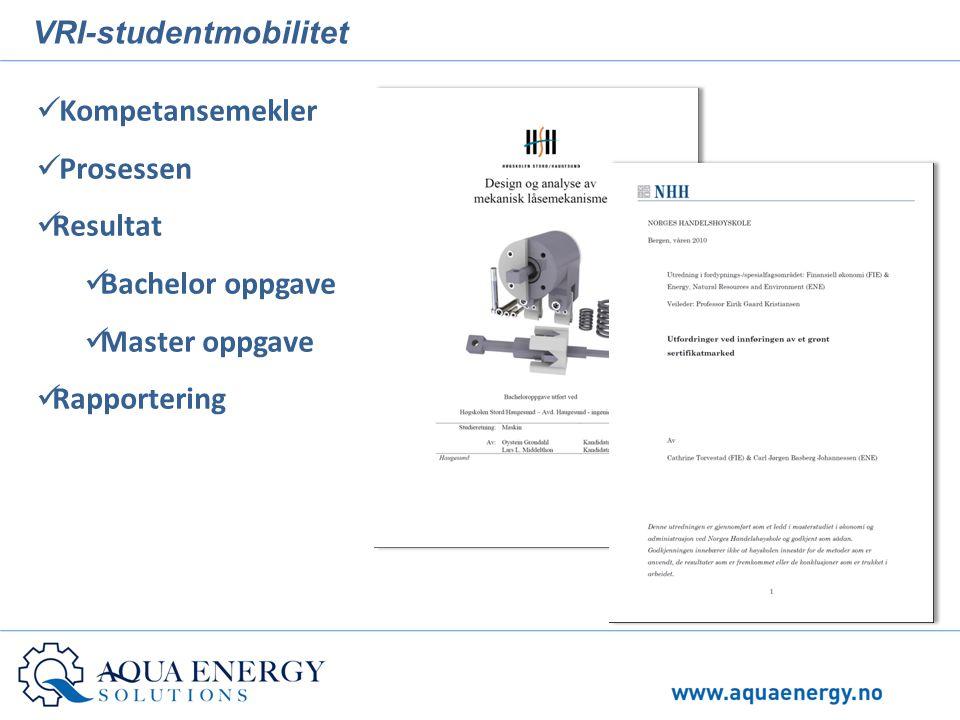 VRI-studentmobilitet  Kompetansemekler  Prosessen  Resultat  Bachelor oppgave  Master oppgave  Rapportering