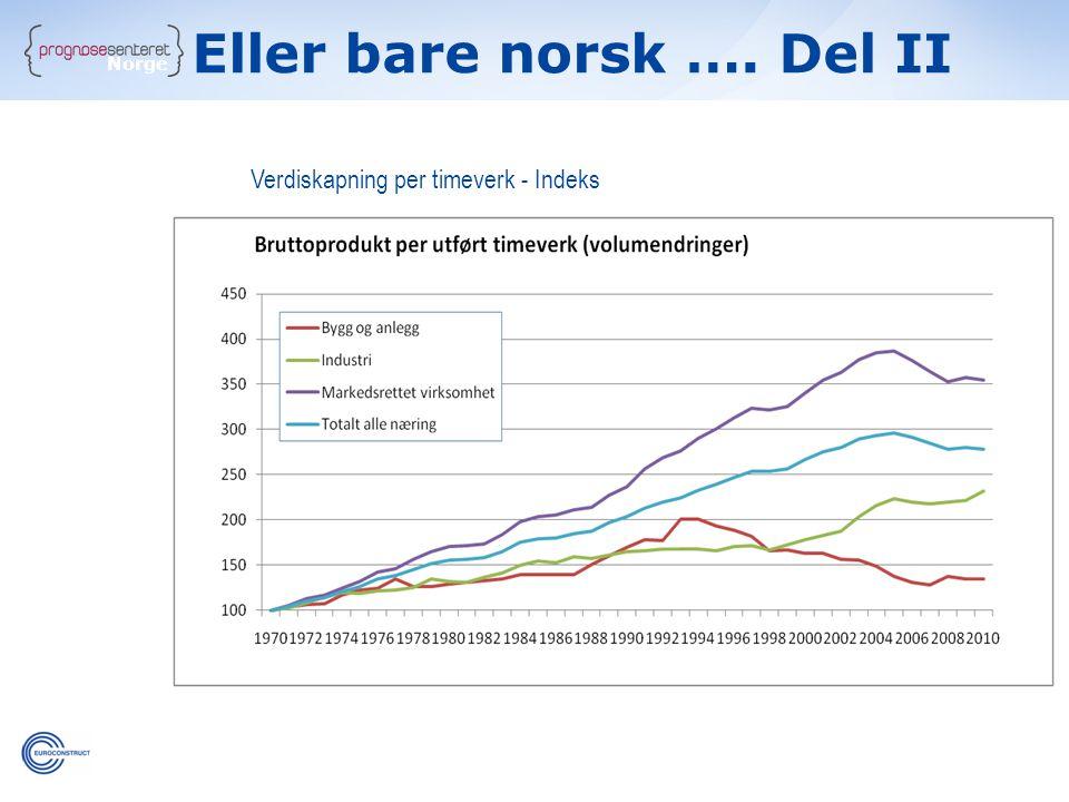 Norge Verdiskapning per timeverk - Indeks Eller bare norsk …. Del II