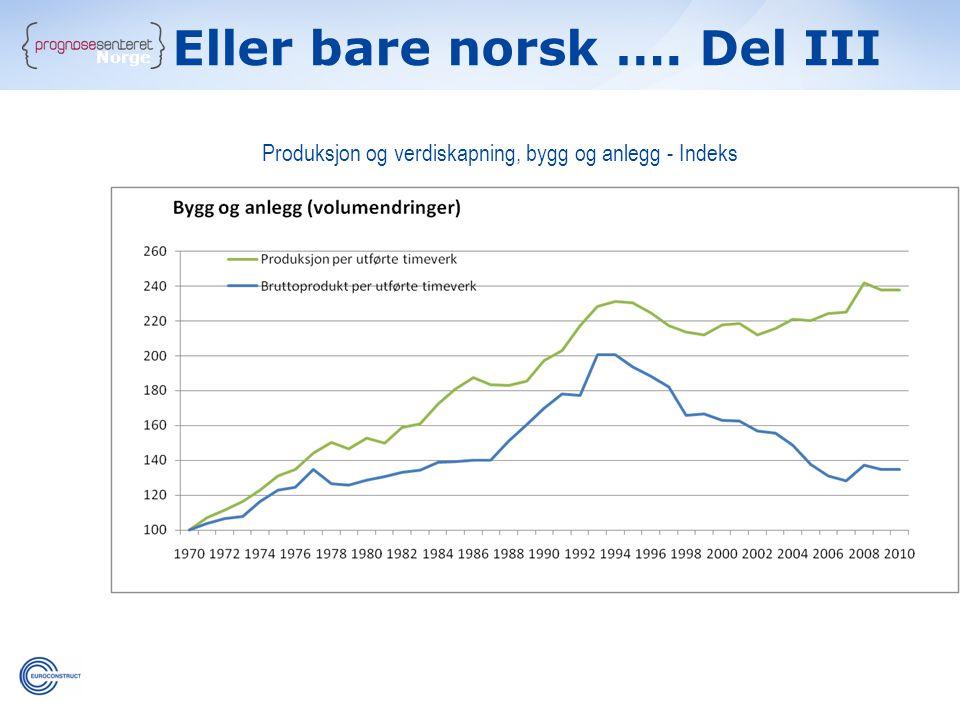Norge Produksjon og verdiskapning, bygg og anlegg - Indeks Eller bare norsk …. Del III