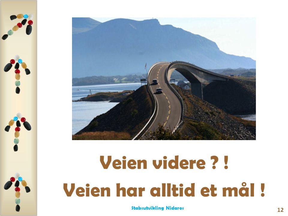 Veien videre ? ! Veien har alltid et mål ! 12 Stabsutvikling Nidaros
