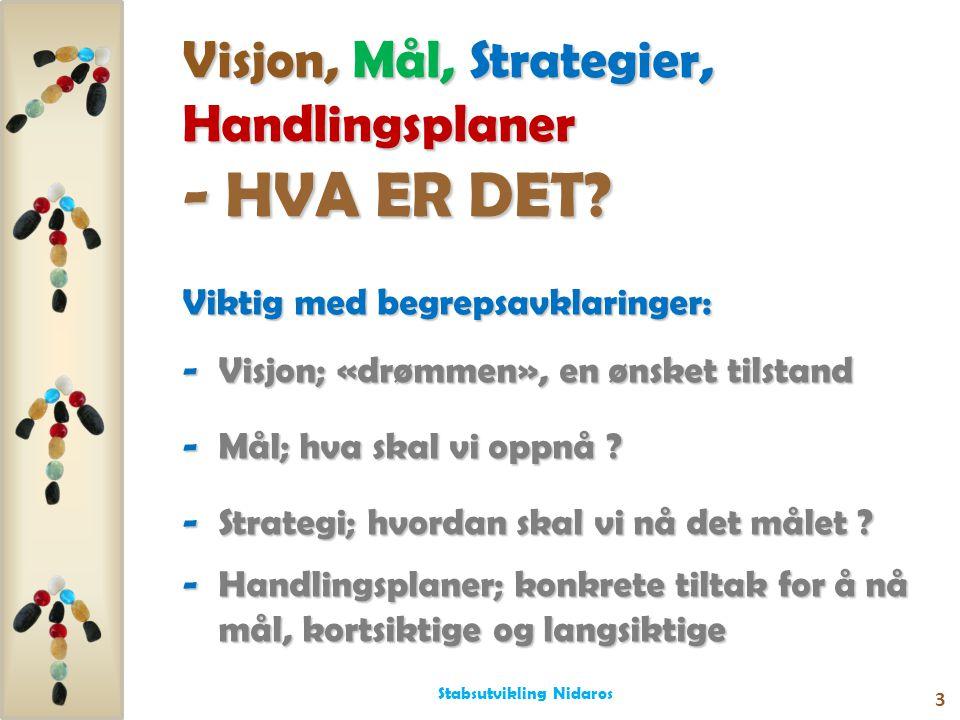 Visjon, Mål, Strategier, Handlingsplaner - HVA ER DET? Viktig med begrepsavklaringer: -Visjon; «drømmen», en ønsket tilstand -Mål; hva skal vi oppnå ?