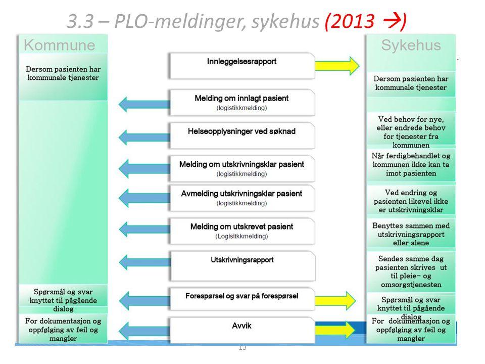 3.3 – PLO-meldinger, sykehus (2013  ) 13
