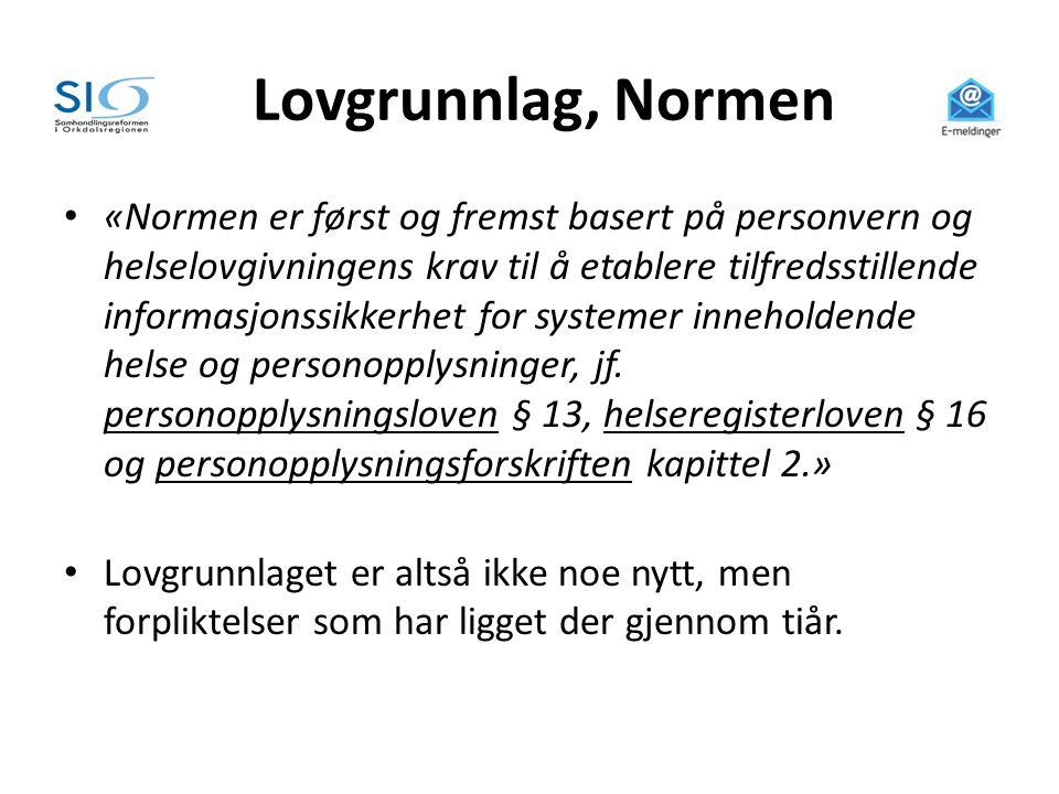Lovgrunnlag, Normen • «Normen er først og fremst basert på personvern og helselovgivningens krav til å etablere tilfredsstillende informasjonssikkerhe