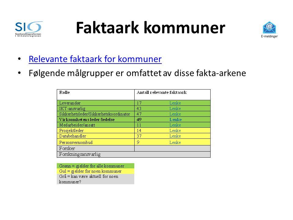 Faktaark kommuner • Relevante faktaark for kommuner Relevante faktaark for kommuner • Følgende målgrupper er omfattet av disse fakta-arkene