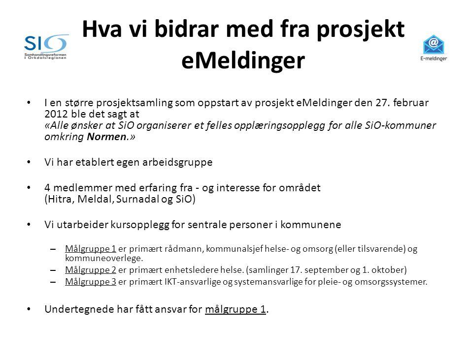 Hva vi bidrar med fra prosjekt eMeldinger • I en større prosjektsamling som oppstart av prosjekt eMeldinger den 27. februar 2012 ble det sagt at «Alle