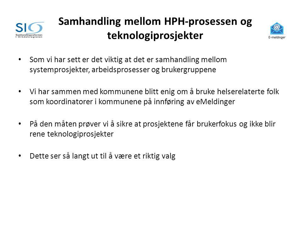 Samhandling mellom HPH-prosessen og teknologiprosjekter • Som vi har sett er det viktig at det er samhandling mellom systemprosjekter, arbeidsprosesse