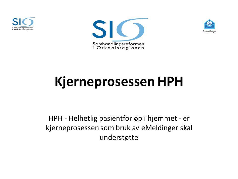 Kjerneprosessen HPH HPH - Helhetlig pasientforløp i hjemmet - er kjerneprosessen som bruk av eMeldinger skal understøtte