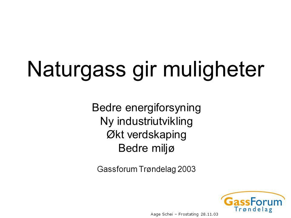 Aage Schei – Frostating 28.11.03 Naturgass gir muligheter Bedre energiforsyning Ny industriutvikling Økt verdskaping Bedre miljø Gassforum Trøndelag 2