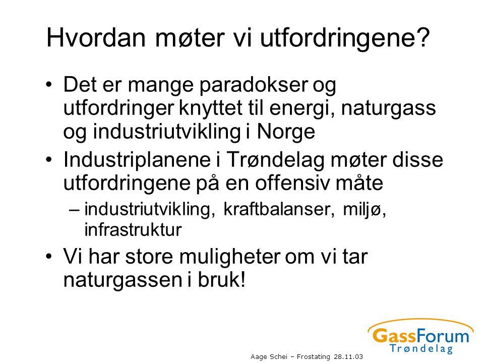Aage Schei – Frostating 28.11.03 Hvordan møter vi utfordringene? •Det er mange paradokser og utfordringer knyttet til energi, naturgass og industriutv