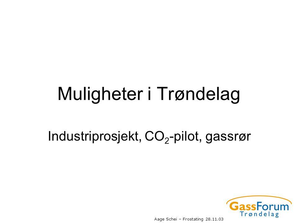 Aage Schei – Frostating 28.11.03 Muligheter i Trøndelag Industriprosjekt, CO 2 -pilot, gassrør