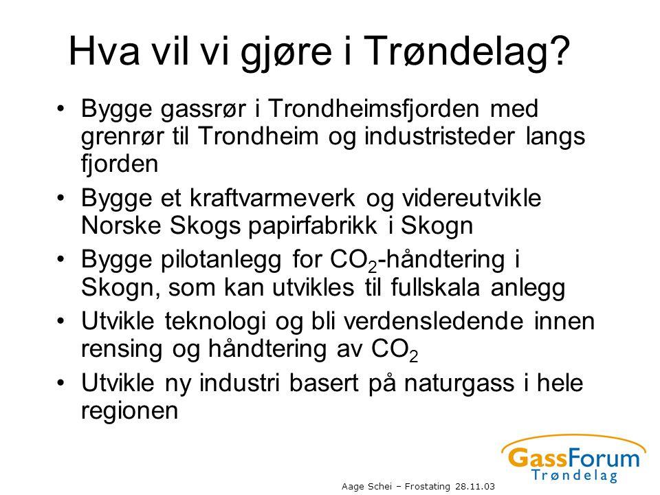 Aage Schei – Frostating 28.11.03 Hva vil vi gjøre i Trøndelag? •Bygge gassrør i Trondheimsfjorden med grenrør til Trondheim og industristeder langs fj