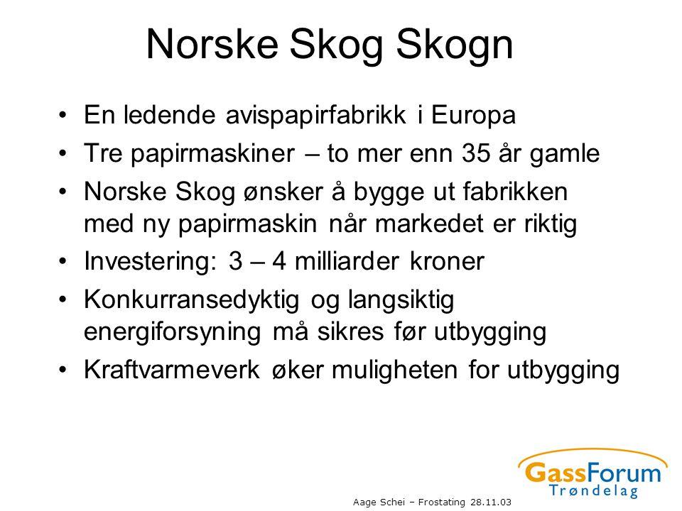 Aage Schei – Frostating 28.11.03 Norske Skog Skogn •En ledende avispapirfabrikk i Europa •Tre papirmaskiner – to mer enn 35 år gamle •Norske Skog ønsk