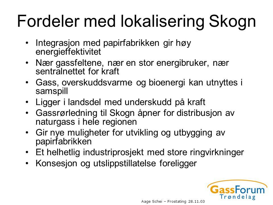 Aage Schei – Frostating 28.11.03 Fordeler med lokalisering Skogn •Integrasjon med papirfabrikken gir høy energieffektivitet •Nær gassfeltene, nær en s