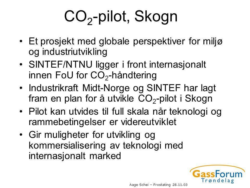 Aage Schei – Frostating 28.11.03 CO 2 -pilot, Skogn •Et prosjekt med globale perspektiver for miljø og industriutvikling •SINTEF/NTNU ligger i front i