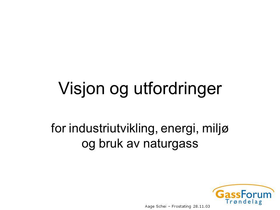 Aage Schei – Frostating 28.11.03 Visjon og utfordringer for industriutvikling, energi, miljø og bruk av naturgass