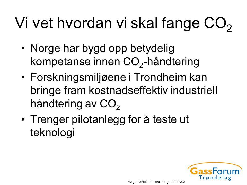 Aage Schei – Frostating 28.11.03 Vi vet hvordan vi skal fange CO 2 •Norge har bygd opp betydelig kompetanse innen CO 2 -håndtering •Forskningsmiljøene