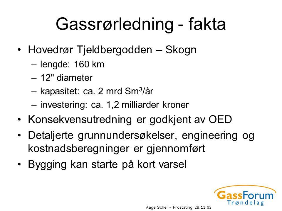 Aage Schei – Frostating 28.11.03 Gassrørledning - fakta •Hovedrør Tjeldbergodden – Skogn –lengde: 160 km –12
