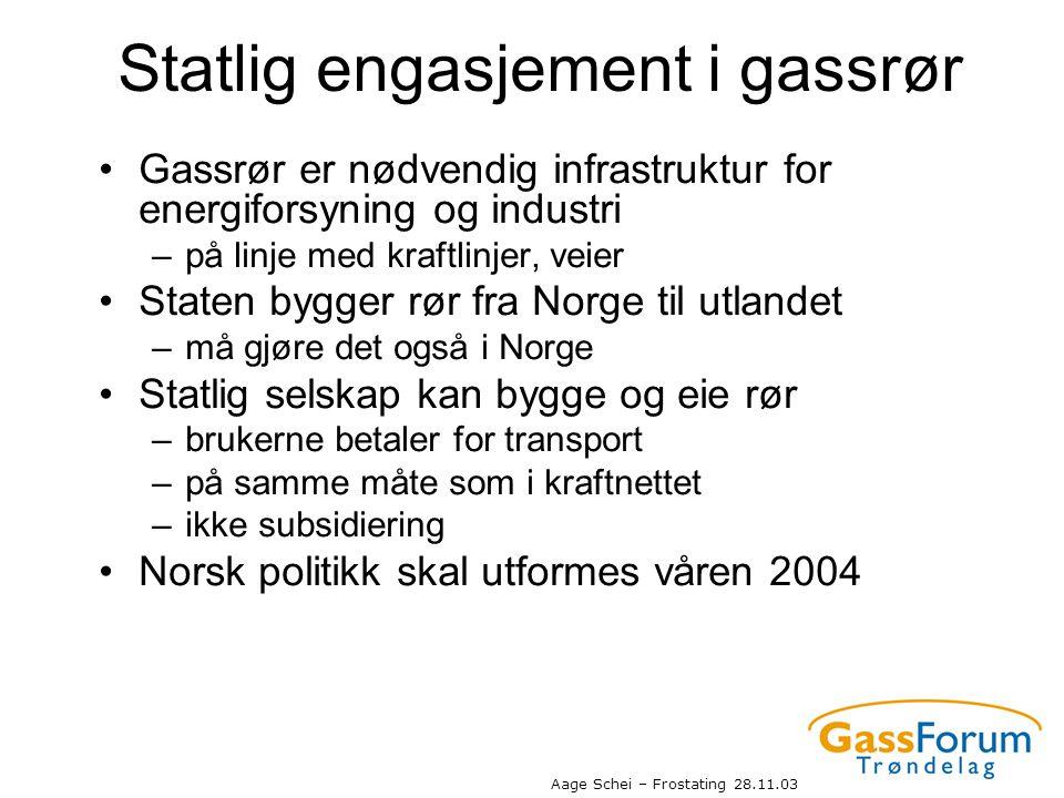Aage Schei – Frostating 28.11.03 Statlig engasjement i gassrør •Gassrør er nødvendig infrastruktur for energiforsyning og industri –på linje med kraft