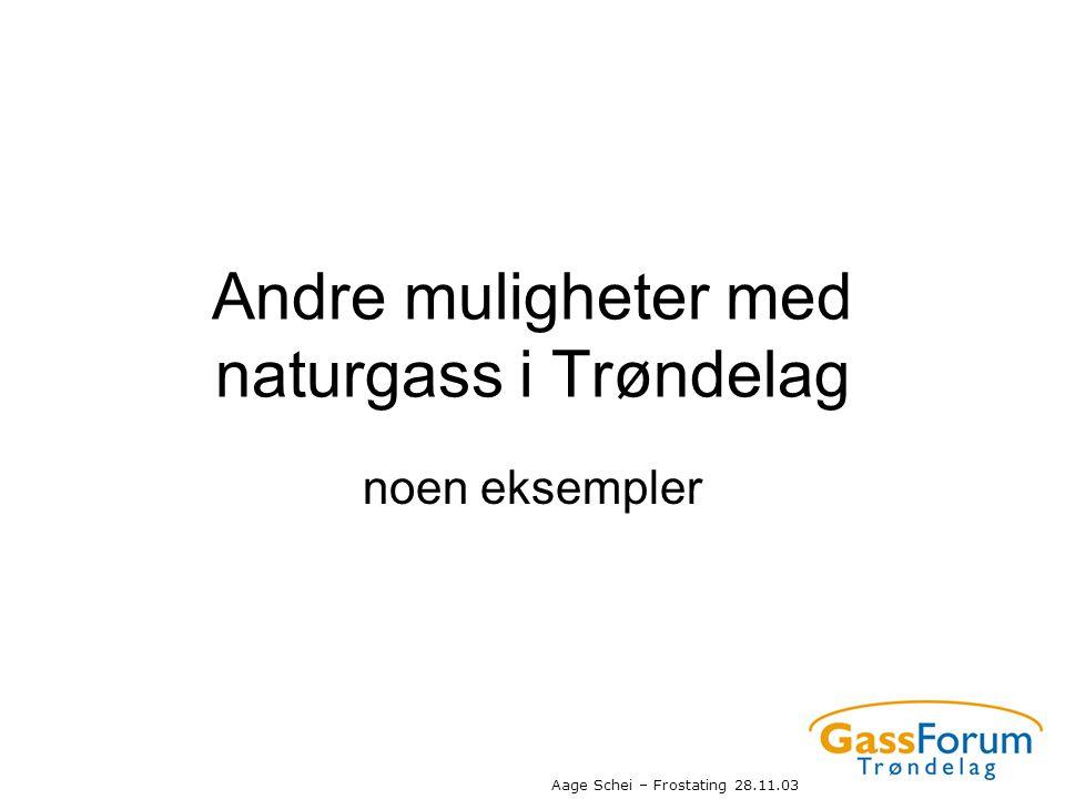 Aage Schei – Frostating 28.11.03 Andre muligheter med naturgass i Trøndelag noen eksempler