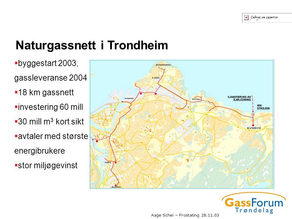 Aage Schei – Frostating 28.11.03 Naturgassnett i Trondheim  byggestart 2003, gassleveranse 2004  18 km gassnett  investering 60 mill  30 mill m 3
