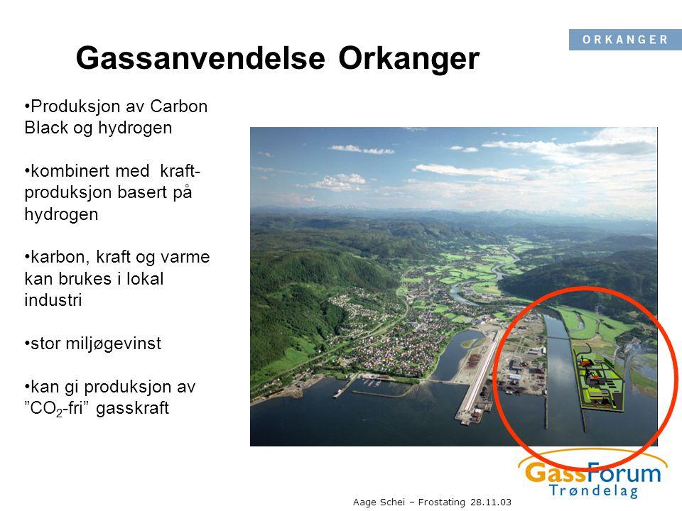 Aage Schei – Frostating 28.11.03 Gassanvendelse Orkanger •Produksjon av Carbon Black og hydrogen •kombinert med kraft- produksjon basert på hydrogen •