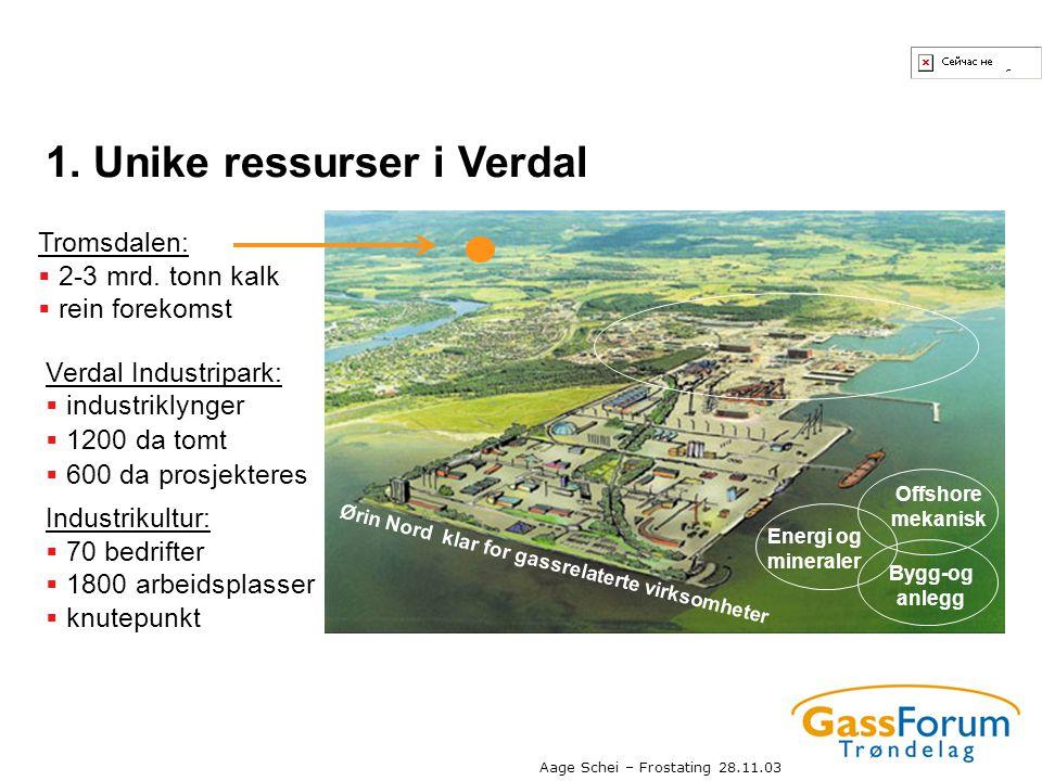 Aage Schei – Frostating 28.11.03 1. Unike ressurser i Verdal Bygg-og anlegg Offshore mekanisk Energi og mineraler Ørin Nord klar for gassrelaterte vir