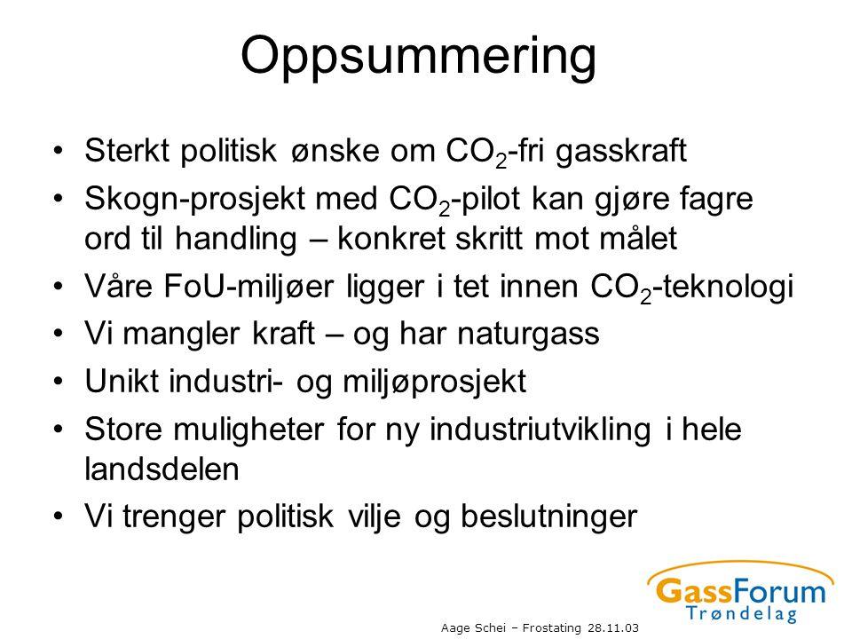 Aage Schei – Frostating 28.11.03 Oppsummering •Sterkt politisk ønske om CO 2 -fri gasskraft •Skogn-prosjekt med CO 2 -pilot kan gjøre fagre ord til ha