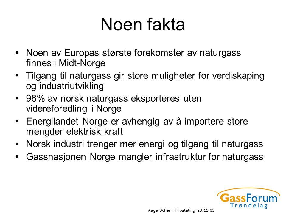 Aage Schei – Frostating 28.11.03 Noen fakta •Noen av Europas største forekomster av naturgass finnes i Midt-Norge •Tilgang til naturgass gir store mul