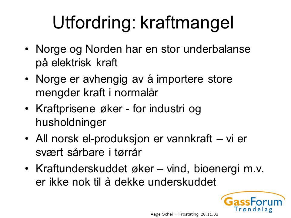 Aage Schei – Frostating 28.11.03 Utfordring: kraftmangel •Norge og Norden har en stor underbalanse på elektrisk kraft •Norge er avhengig av å importer