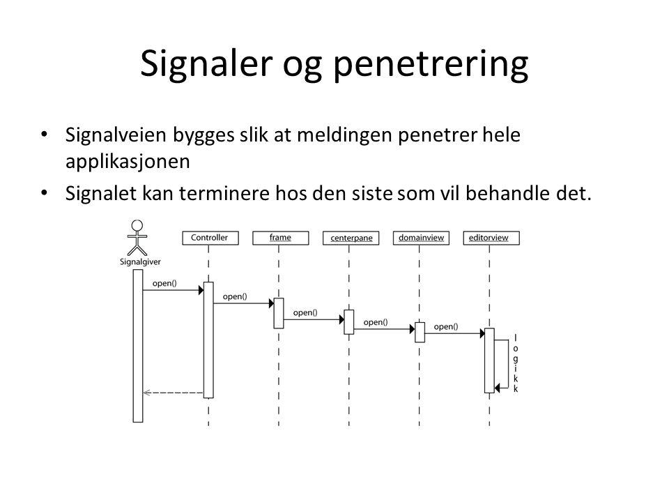 • Signalveien bygges slik at meldingen penetrer hele applikasjonen • Signalet kan terminere hos den siste som vil behandle det. Signaler og penetrerin