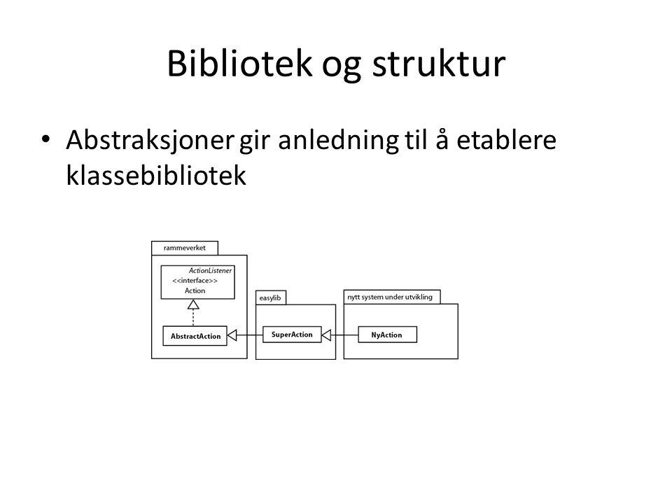 Bibliotek og struktur • Abstraksjoner gir anledning til å etablere klassebibliotek