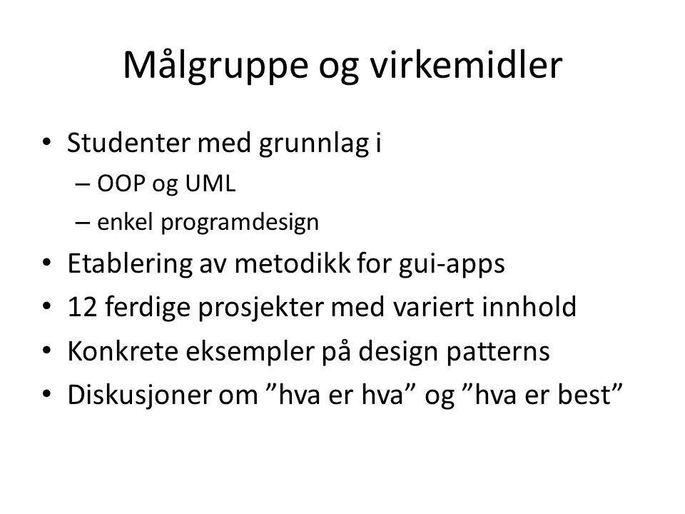 Målgruppe og virkemidler • Studenter med grunnlag i – OOP og UML – enkel programdesign • Etablering av metodikk for gui-apps • 12 ferdige prosjekter m