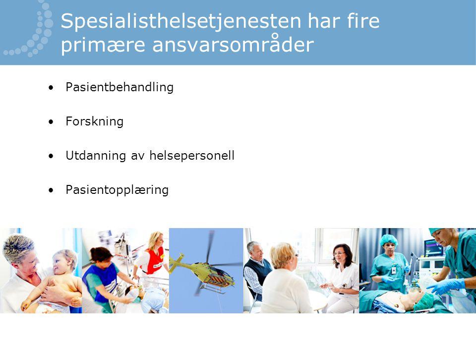 Spesialisthelsetjenesten har fire primære ansvarsområder •Pasientbehandling •Forskning •Utdanning av helsepersonell •Pasientopplæring